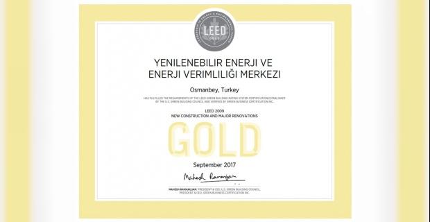 GAP YENEV'E Uluslararası Altın Sertifika.