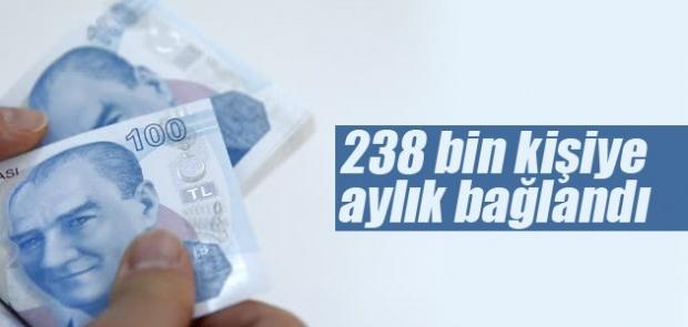 238 bin 524 kişiye aylık bağlandı.