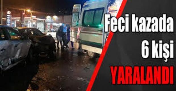 iki otomobil kafa kafaya çarpıştı,6 kişi yaralandı.