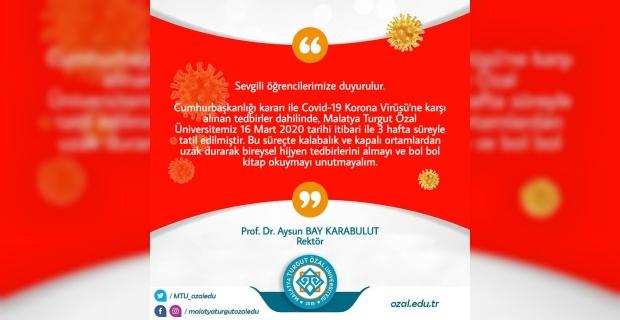 """Malatya Turgut Özal Üniversitesi """"Sevgili öğrencilerimize duyurulur"""""""