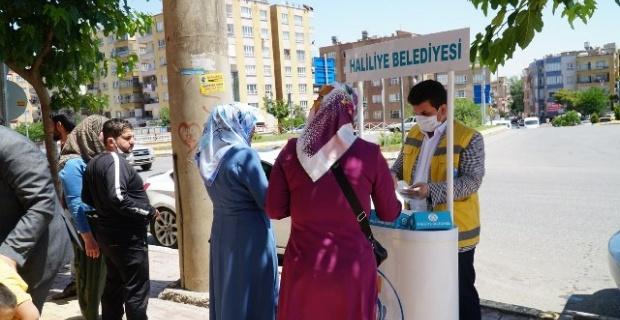 Haliliye Belediyesi,vatandaşlara maske dağıtımını sürdürüyor.