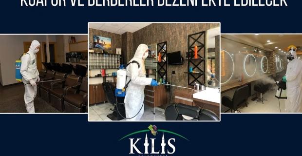 """Kilis Belediyesi """"Berber ve Kuaför Salonlarına ilaçlama ve dezenfekte çalışması başlatıldı"""""""