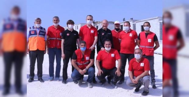 Bakan Soylu,İdlib'de briket evler projesini yerinde ziyaret etti.