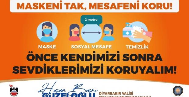 """Diyarbakır Valisi Güzeloğlu """"10.06.2020 tarihinden itibaren il genelinde sokağa maskesiz çıkma ve dolaşma yasaklanmıştır"""""""