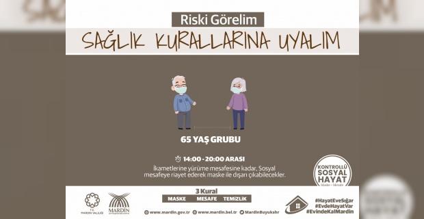 """Mardin Büyükşehir Belediyesi""""65 yaş ve üzeri hemşehrilerimizin,maske kullanmaları ve sosyal mesafeye uymaları gerekmektedir""""."""
