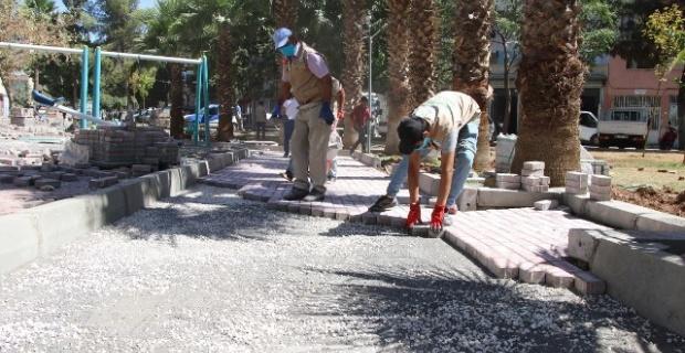 Haliliye'de Parke Döşeme Çalışmaları Devam Ediyor