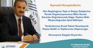 """Başkan Kılınç """"Yardımlarımızı Erzak Paketi Hazırlayarak İhtiyaç Sahibi ve Yaşlılarımıza Ulaştıracağız"""""""