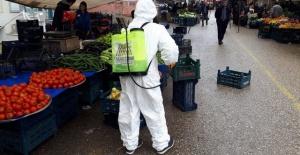 Mardin'de semt pazarları dezenfekte ediliyor.