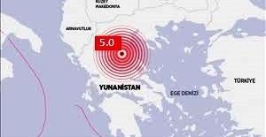 Yunanistan'ın Larisa kenti yakınlarında saat 21.24'te 5,0 büyüklüğünde bir deprem meydana geldi.